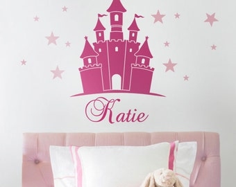 Kids Wall Decals, Princess Castle Wall Decal, Name Decals for Nursery, Personalized Name Decal