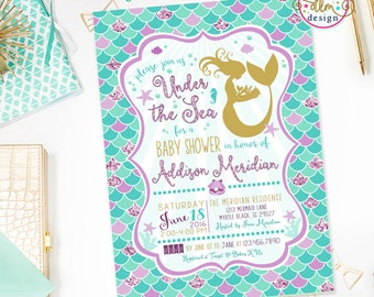 Mermaid Baby Shower Invitation, Under The Sea Baby Shower, Mermaid Shower Invite, Mermaid Invitation, Purple and Aqua, Printable DIY Invite