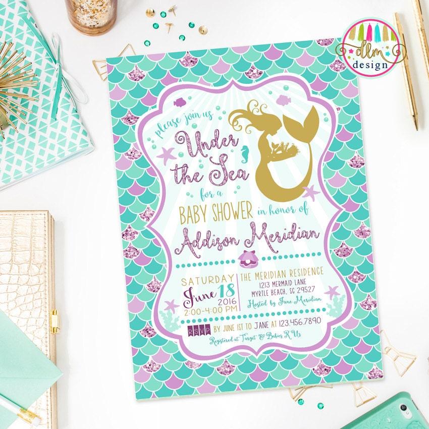 mermaid baby shower invitation under the sea baby shower, Baby shower invitations