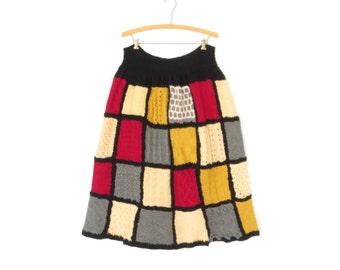 40s Sampler Skirt * 1940s Wool Skirt * Patchwork Skirt * Colorblock * XL