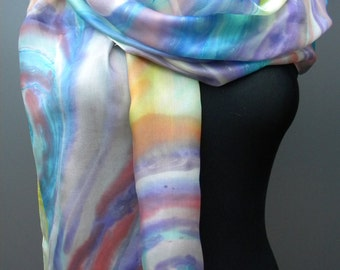 "Pastel hand painted silk scarf, colorful spirals of energy. 18"" x 71"" Multicolored candy colors scarf in blue, red, purple, white, yellow"