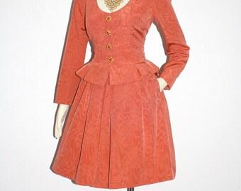 YVES SAINT LAURENT Vintage Rive Gauche Suit Moire Jewel Button Skirt Jacket