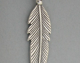 Sterling Silver 925 Charm Pendant Native American Indian FEATHER f-1
