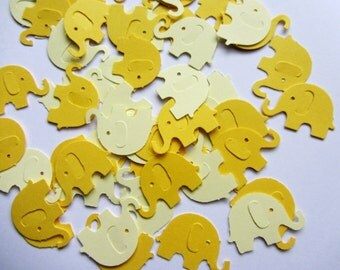 Yellow Elephant Die Cuts Yellow Table Confetti Yellow Baby Shower Decoration Paper elephants yellow baby shower yellow kids party