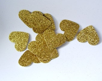Glitter Gold Hearts Glitter Paper hearts Gold die cut hearts Gold Glitter paper heart confetti Gold wedding table scatters