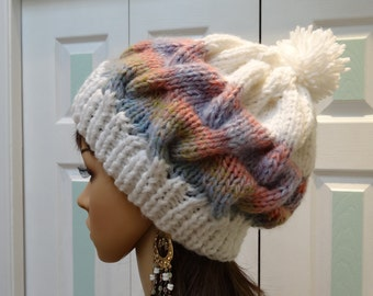 Knitted Winter Hat, Bulky Knit Hat, Sparkling white with variegated pastel, imported, wool yarn