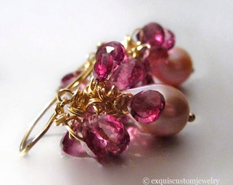 Ballerina - 18K Solid Gold Garnet and Pearl Earrings
