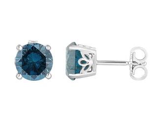 Fancy Blue Diamond Stud Earrings 1.92 Carat 14K White Gold Gallery Design Handmade Certified