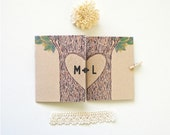 Initials vow books. Rustic Wedding vow books. Carved tree drawing. Set of 2 Vow Books. VB483