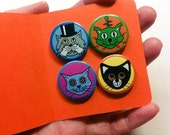 Cat pin button badges: four colorful cat pinback buttons with unique cat illustrations, great party favors stocking stuffers cat lover gifts