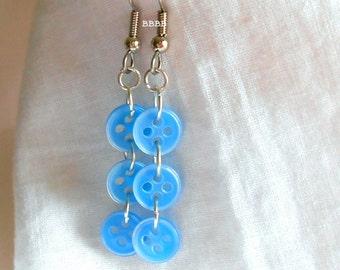 Button Earrings Dangle Earrings Bright Silver Earrings Blue Earrings