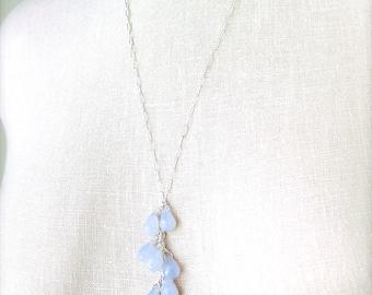 Serenity Blue Chalcedony Raindrop Necklace Pantone Jewelry