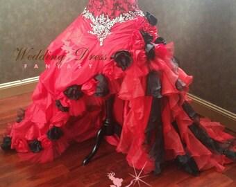 Stunning Red and Black Gothic Wedding Dress with Hand Sewn Rhinestones