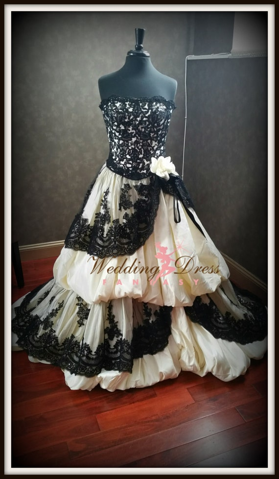 Gothic Wedding Dress Pale Yellow And Black By
