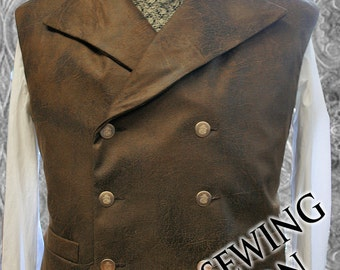 XL Steampunk Double Breasted Waistcoat  Vest Sewing Pattern . Sweeney Todd style 48 - to 58 chest