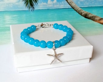 Turquoise beaded starfish charm bracelet blue sea star beach bracelet mermaid coastal jewelry
