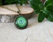 Anahata Chakra Necklace, Antique Bronze Pendant, Glass Cabochon Pendant With Chain