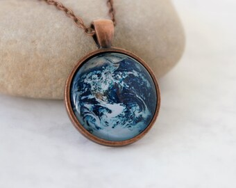 Planet Earth Necklace, Antique Copper Pendant,Glass Cabochon Pendant With Chain
