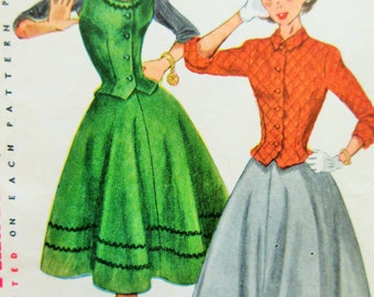 Vintage Simplicity 3979 Sewing Pattern, Full Circle Skirt, 1950s Skirt Pattern, 1950s Sewing Pattern, Weskit Pattern Bust 32, Flared Skirt