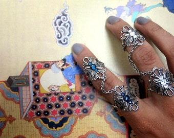 crystal chain rings knuckle rings vintage filigree handcuff rings silver knuckle rings silver crystal rings | Julnare chain rings