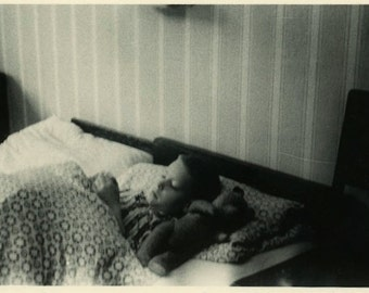 "Vintage Photo ""The Flu Boy and Teddy"" Sleeping Picture Sick Little Boy Child Teddy Bear Toy Old Snapshot Black & White Paper Ephemera - 189"