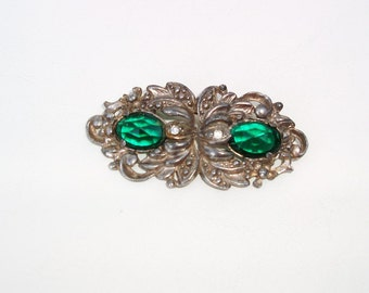 Vintage Green Silver Brooch, Rhinestone Brooch, Marcasite Pin,  Paul Sargent 24KP, Faceted Gemstone Brooch