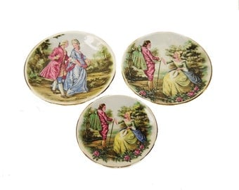 Rural Crafts Llandogo, Wales, 3 Wall Plates, Fragonard Style