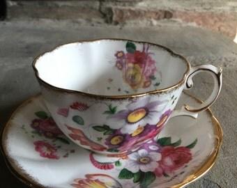 Vintage Lady Angela Royal Albert Teacup & Saucer Bone China Tea Cup Set Sprayed Gold Rim / Colorful Flowers - #5746