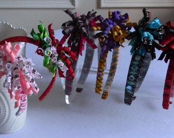 Korker Bow Headband Ribbon Wrapped Hard Headband Some w/ Rhinestones Rockabilly Skulls Dots Stripes Fruit Mermaid For Girls You Choose ONE