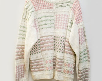 Eighties Pastel Chunky Knit / Pink and Green Grandpa Jumper / Ugly Sweater Grandpa Knit Oversized Slouchy / Geometric Mod Pullover Womens