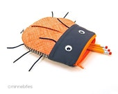 Beetle Pencil Bag - Back to School Supplies - Kindergarten Gift - Orange Travel Kit - Boys Zip Pouch - Insect - Bug Case - Ready to Ship