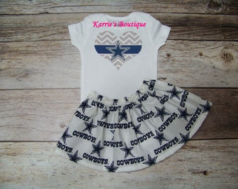 Dallas Cowboys 2 pc Outfit / Onesie + Skirt / Blue & Silver / Football / Game Day / Infant / Baby / Girl / Toddler/ Custom Boutique Clothing