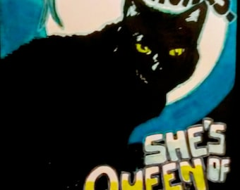 Black Cat Poster-Queen of the Night