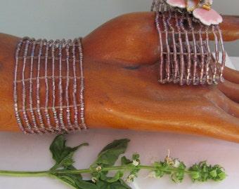 6 Woven Bugle Bead Cuff Bracelet