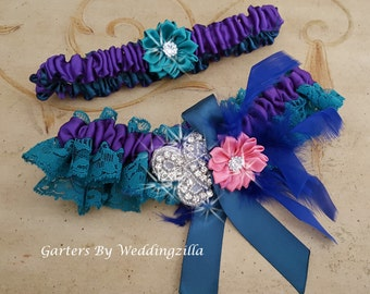 Teal Lace Wedding Garter Set,  Purple Teal, Bridal Garter Set, Wedding Garter Belt, Purple Haze
