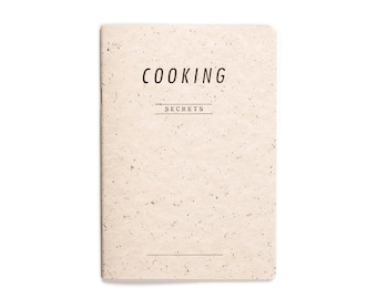 SALE -40% COOKING secrets - letterpress printed notebook - Pastel Salmon color -  COOK5008R