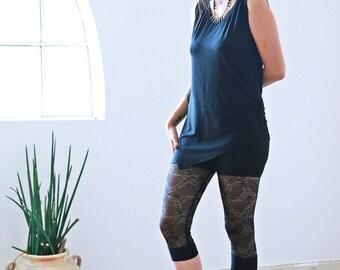 Black lace leggings, Sheer Leggings, Capri Leggings, Goth leggings, Transparent tights, Womens leggings