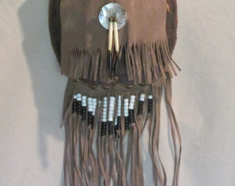 Turtle Shell Medicine Bag, Vintage, Abalone, Bone Brass Pony Beads, Fringed, Cabin Lodge Wall Decor Native American Tribal Ethnic
