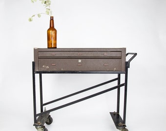 Vintage Rolling Tool Cart by Kennedy, Industrial Table or Bar Cart