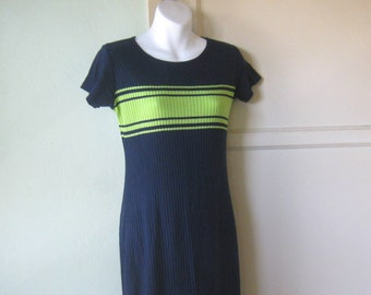 Long Navy Blue Sweater Dress; Charteuse Green Stripe~Vintage 80s Sporty Euro Chic Knit Maxi Dress; Free Shipping/U.S.