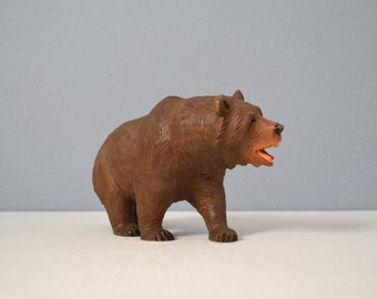 Large Vintage Black Forest Bear Wood Carving