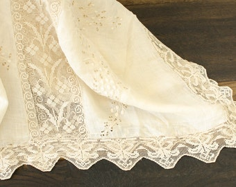 Antique Batiste Filet Lace French Knotted Cutwork Hand Embroidered Tablecloth / Bedspread/ Window Panel