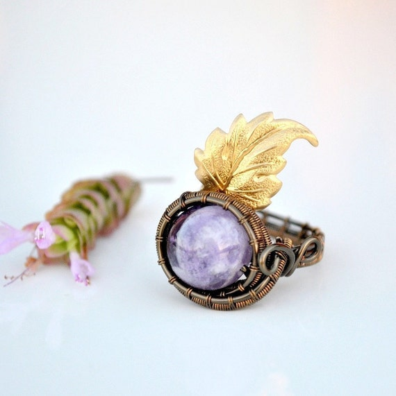 Amethyst ring ~ Wire wrapped ~ Vintage