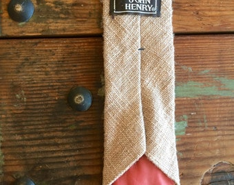 John Henry Raw Silk Beige Skinny Tie Vintage Menswear Accessories