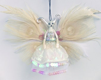 Ice Queen ornament, White Witch fairy peg doll, OOAK gift idea