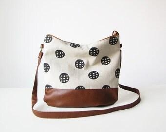 Crossbody bag, Canvas and Vegan Leather, Slouchy Messanger bag, Boho bag, Shoulder bag, Clutch purse
