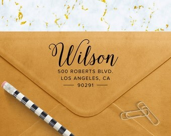 Custom Address Stamp, Self Ink Return Address Stamp, Custom Address Stamps, Self Inking Personalized Stamps, Pointed Calligraphy
