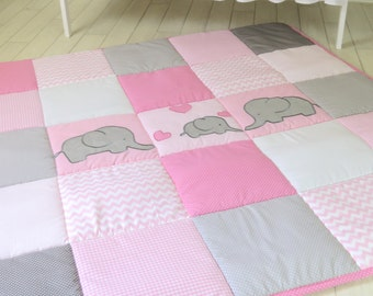 Baby Playmat, Chevron Play Mat, Pink Gray Baby Rug, Crawling Blanket