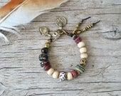 Om Mani Padme Hum bracelet - bohemian jewelry - yoga bracelet - ethnic jewelry - bohemian bracelet