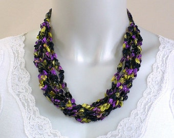 Purple & Yellow Ladder Yarn Necklace: Handmade Ribbon Necklace, Crochet Choker, Fiber Jewelry, Lakers Fan Necklace
